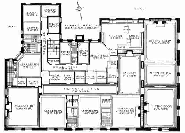 A luxury new york city apartment from the early twentieth for Large apartment floor plans